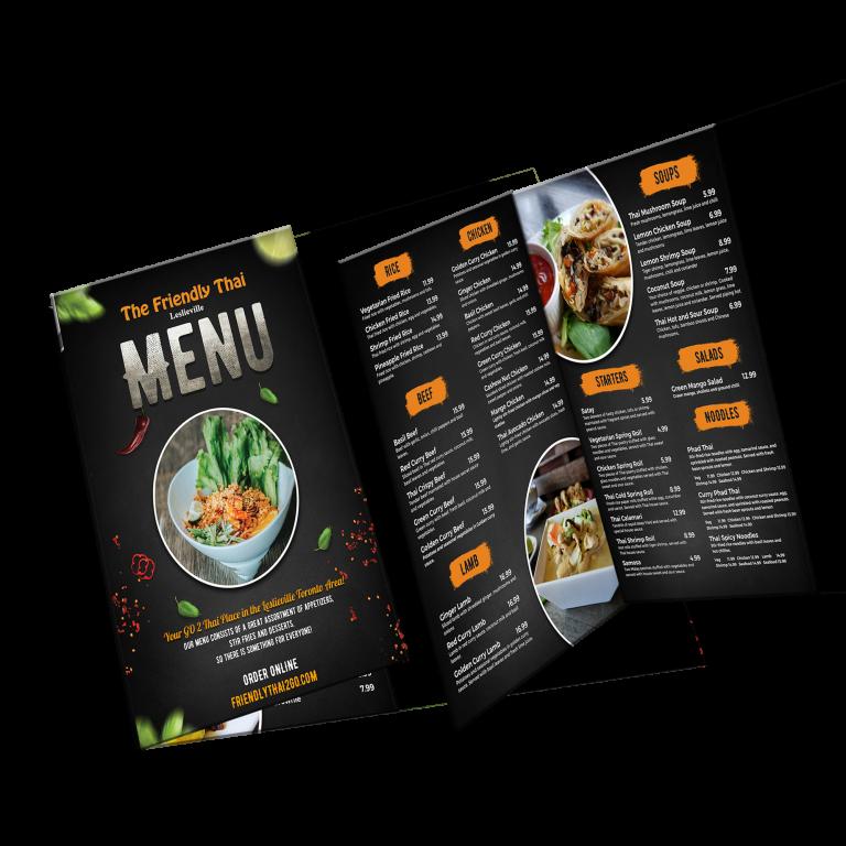menu mockup